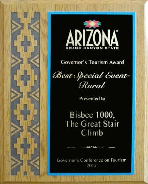 Brown and black award plaque with a decorative design on the left and gold text on the right